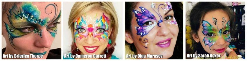 Face painting - butterflies from different artists - 1