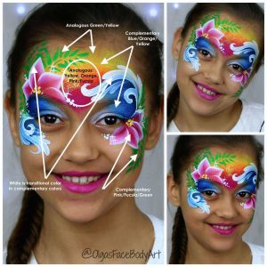 Color balance in face painting - Moana design