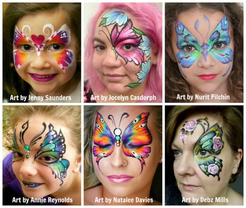 Butterflies - face painting - different styles