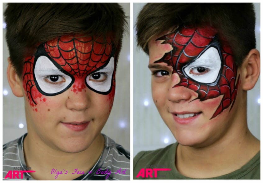 Spider-man face painting design at the International Face Paint School