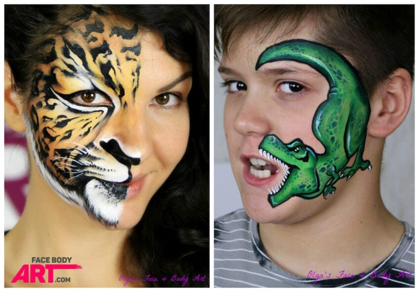 Leopard and Dinosaur T-Rex face painting
