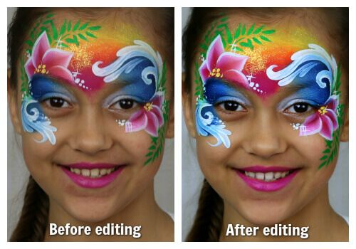 Photo editing in face painting - Moana design