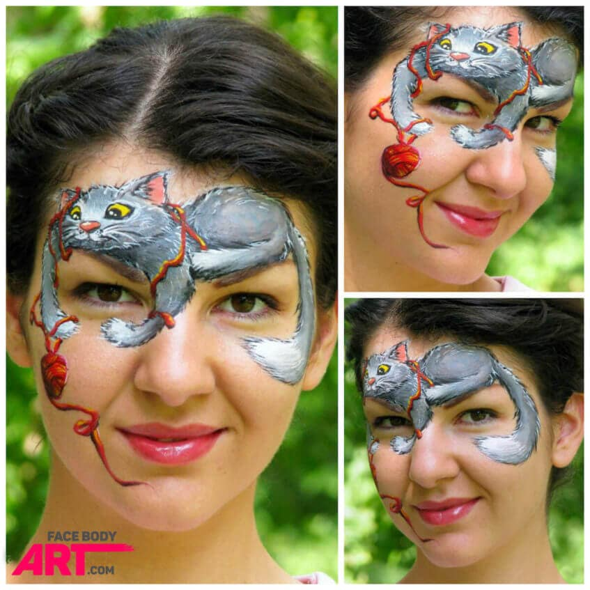 Playful kitten - Step-by-step face painting