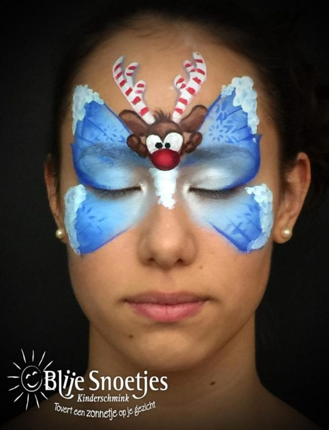 Blue Christmas Butterfly with Rudolph face painting - Step 3