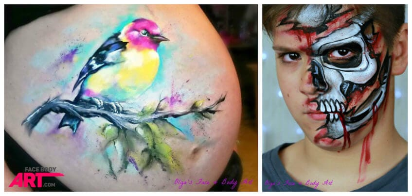 Terminator face painting and bird belly painting