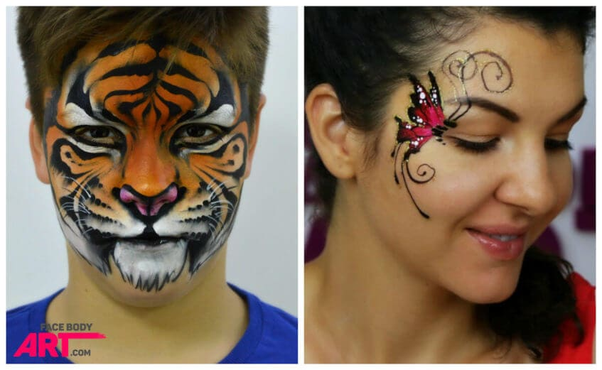 Tiger and butterfly face painting