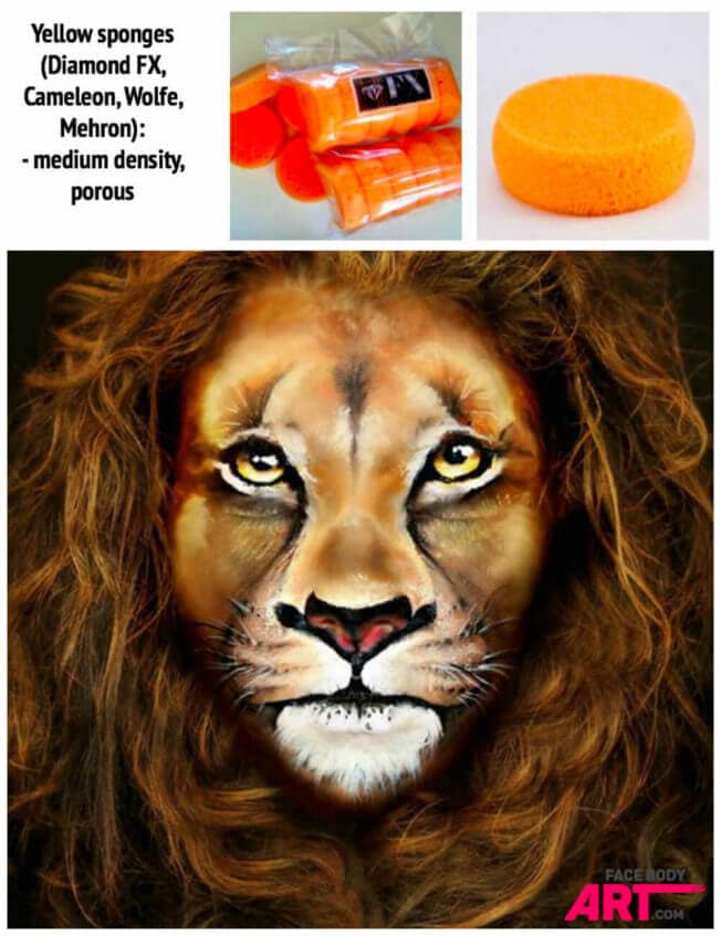 Yellow porous sponges for Lion face painting design