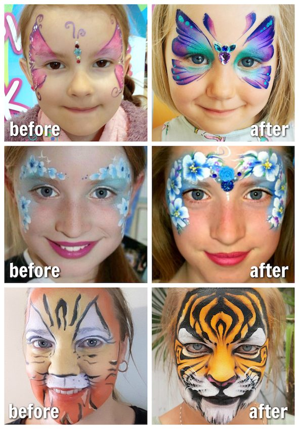 before-after take a class at the International Face Painting School