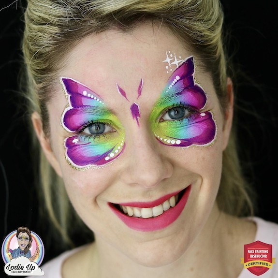 Easy One Stroke Butterfly Face Paint Design by Elodie Ternois