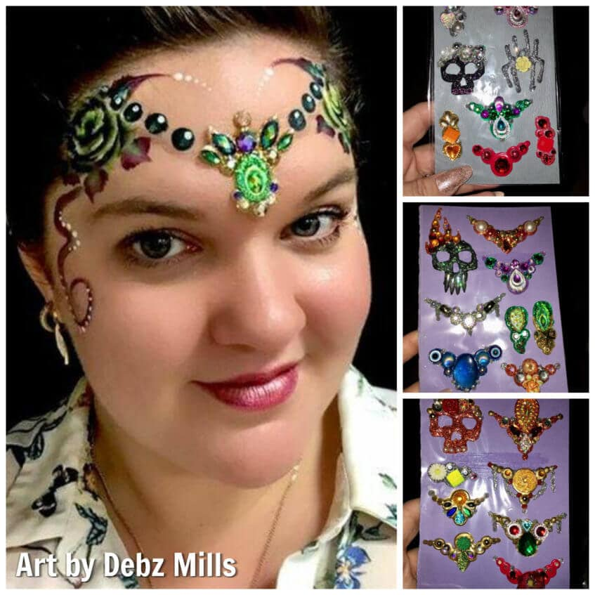 Debz Mills' art look with her handmade bling clusters