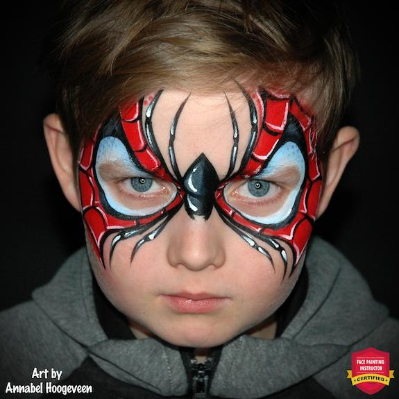 A Very Cool Spiderman Face Paint Design — Step by Step by Annabel Hoogeveen
